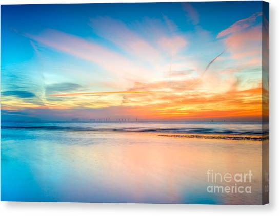 Wind Farms Canvas Print - Seascape Sunset by Adrian Evans