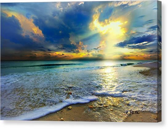 Seascape Sunset-gold Blue Sunset Canvas Print