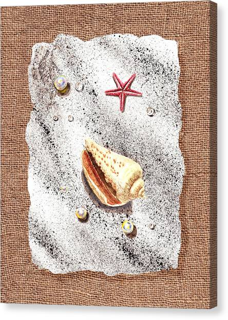 Seashell Fine Art Canvas Print - Seashell Pearls And Water Drops Collection by Irina Sztukowski