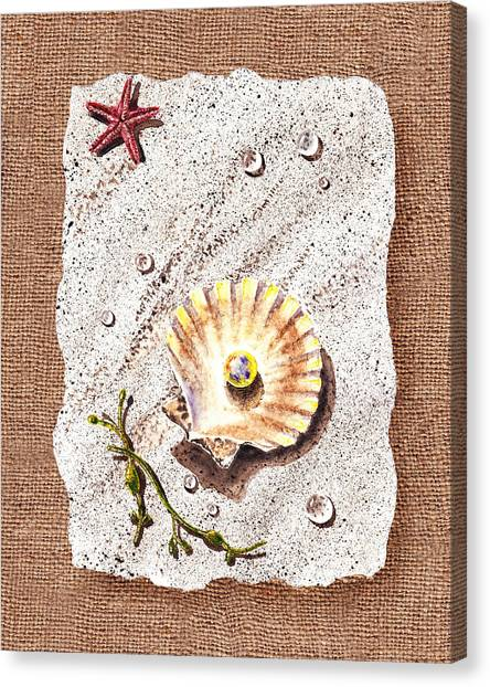 Seashell Fine Art Canvas Print - Seashell With The Pearl Sea Star And Seaweed  by Irina Sztukowski