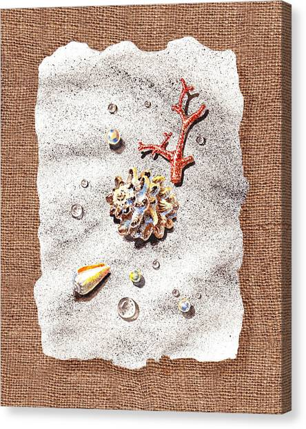 Seashell Fine Art Canvas Print - Seashells Coral Pearls And Water  Drops by Irina Sztukowski