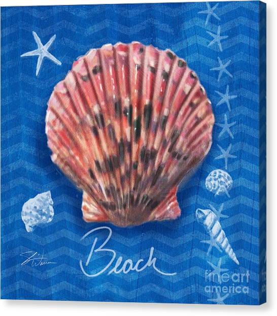Conch Shells Canvas Print - Seashells On Blue-beach by Shari Warren