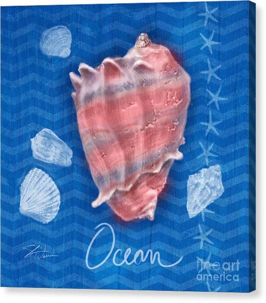 Conch Shells Canvas Print - Seashells On Blue-ocean by Shari Warren