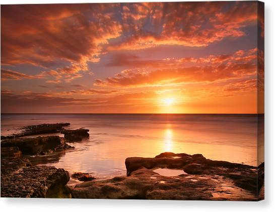 Reef Canvas Print - Seaside Reef Sunset 15 by Larry Marshall