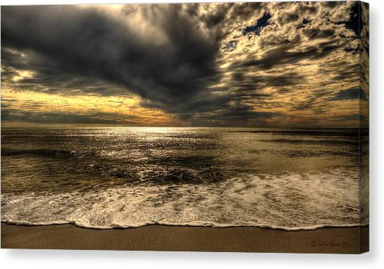 Seaside Sundown With Dramatic Sky Canvas Print