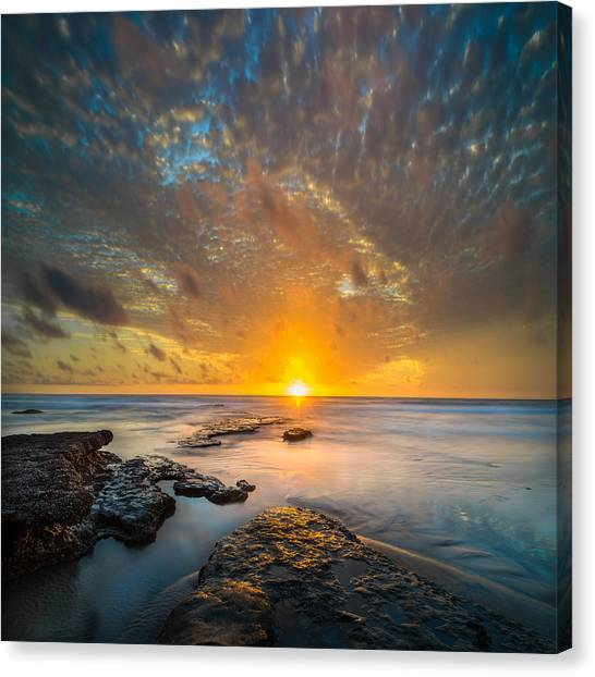 Long Exposure Canvas Print - Seaside Sunset - Square by Larry Marshall