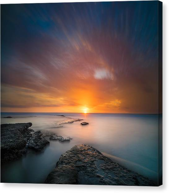 Long Exposure Canvas Print - Seaside Sunset 2- Square by Larry Marshall