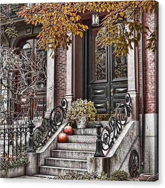 Massachusetts Canvas Print - Seasonal Doorways Of Beacon Hill by Joann Vitali
