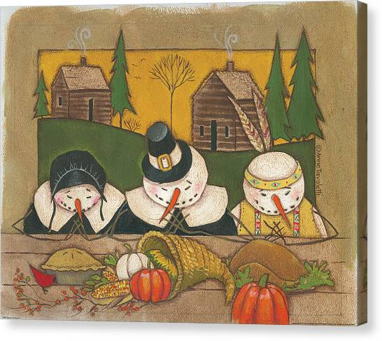 Thanksgiving Canvas Print - Seasonal Snowman Xi by Anne Tavoletti