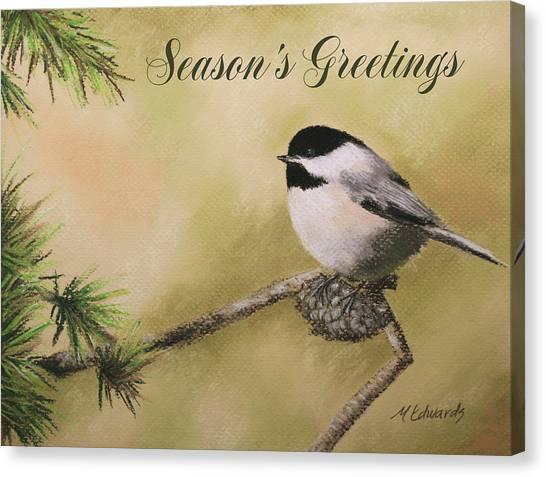 Season's Greetings Chickadee Canvas Print