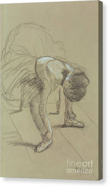 Signature Canvas Print - Seated Dancer Adjusting Her Shoes by Edgar Degas