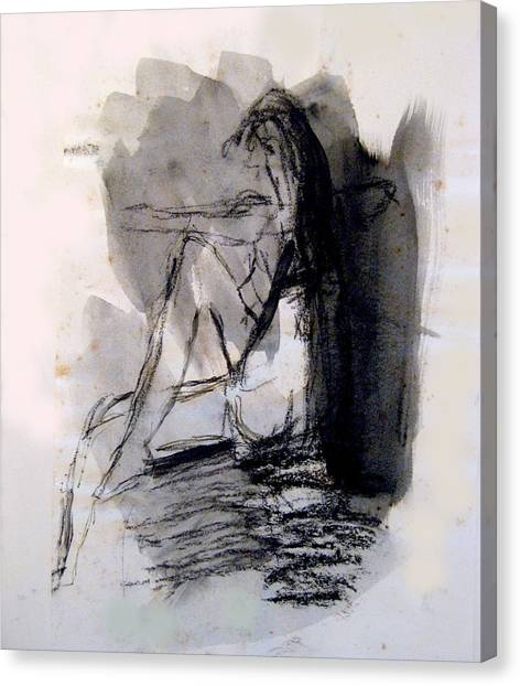 Seated Figure Ink Wash Canvas Print by James Gallagher