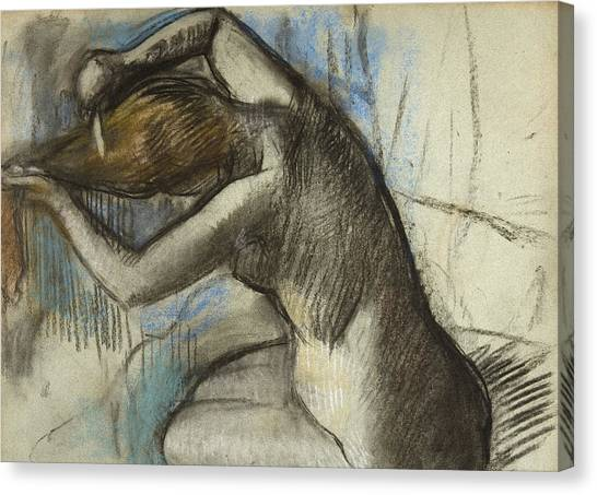 Edgar Degas Canvas Print - Seated Nude Woman Brushing Her Hair by Edgar Degas