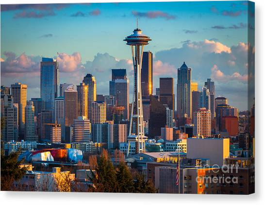 Space Needle Canvas Print - Seattle Afternoon by Inge Johnsson