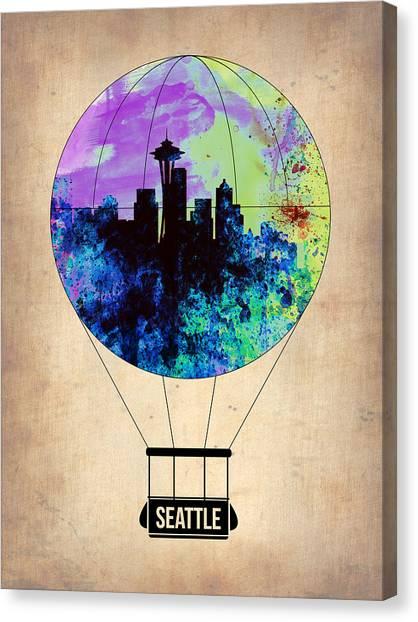 Seattle Canvas Print - Seattle Air Balloon by Naxart Studio