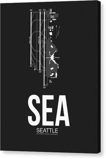 Seattle Canvas Print - Seattle Airport Poster 1 by Naxart Studio