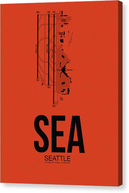Seattle Canvas Print - Seattle Airport Poster 2 by Naxart Studio