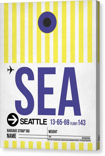Seattle Canvas Print - Seattle Airport Poster 3 by Naxart Studio