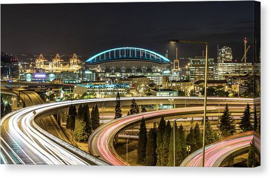 Seattle And Curved Road Light Trails Canvas Print by Michael Lee