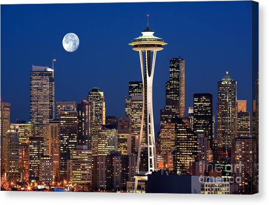 Space Needle Canvas Print - Seattle At Full Moon by Inge Johnsson
