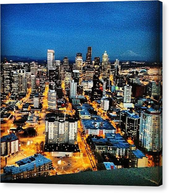 Landmarks Canvas Print - Seattle At Night From The Top Of The by James Higuera
