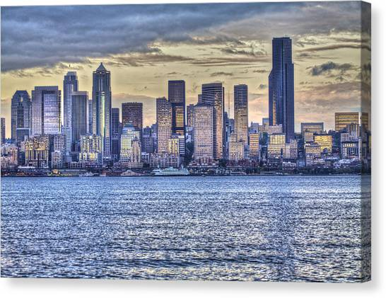 Seattle At Twilight From Alki Beach Canvas Print