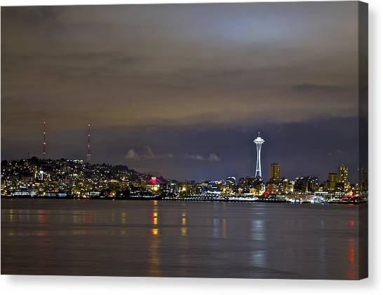 Seattle Cityscape At Night Canvas Print