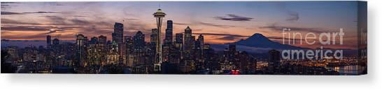 Seattle Skyline Canvas Print - Seattle Cityscape Morning Light by Mike Reid