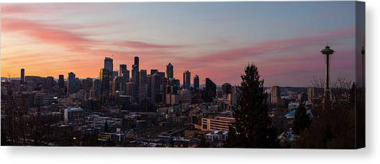 City Sunrises Canvas Print - Seattle Cityscape Sunrise by Mike Reid