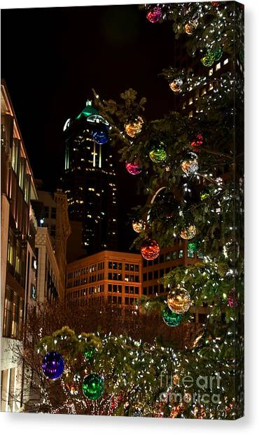 Seattle Downtown Christmas Time Art Prints Canvas Print