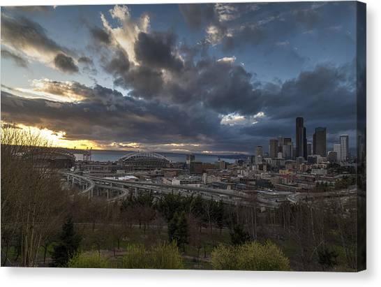 Seattle Skyline Canvas Print - Seattle Dramatic Dusk by Mike Reid