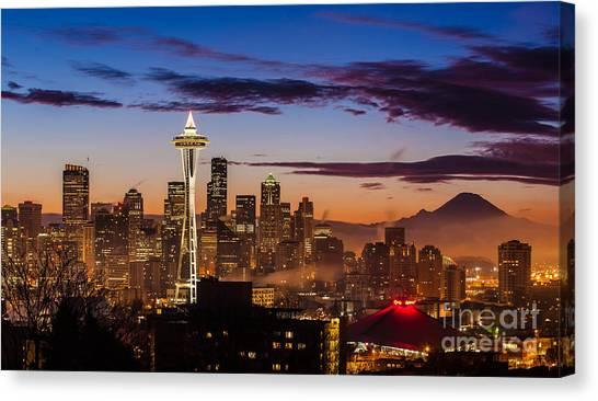 Mount Rainier Canvas Print - Seattle Fog Sunrise by Mike Reid