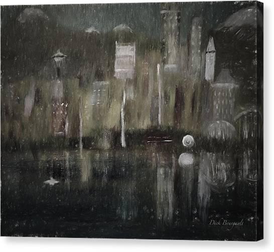 Seattle In The Rain Cityscape Canvas Print