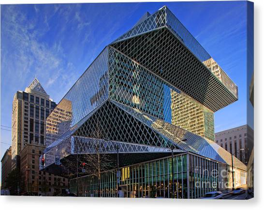 American Steel Canvas Print - Seattle Library by Inge Johnsson