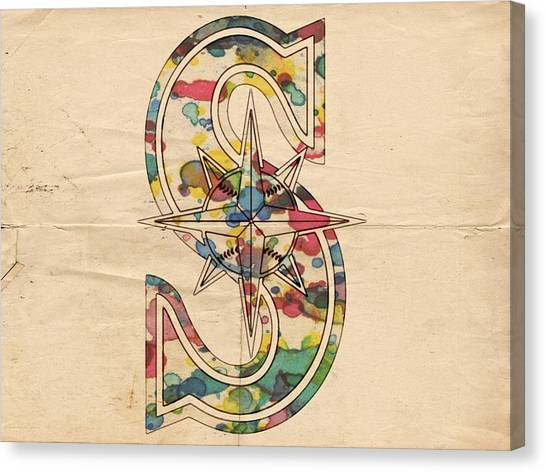 Seattle Mariners Canvas Print - Seattle Mariners Logo Art by Florian Rodarte