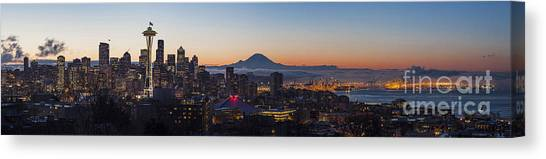 Space Needle Canvas Print - Seattle Morning Glow by Mike Reid