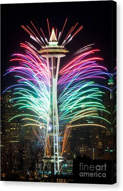 Space Needle Canvas Print - Seattle New Year by Inge Johnsson