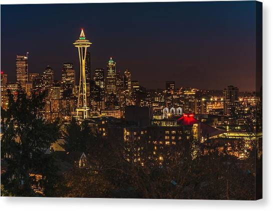 Seattle Night Lights Canvas Print
