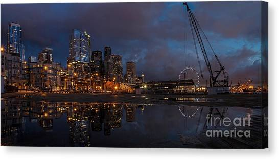 Seattle Skyline Canvas Print - Seattle Night Skyline by Mike Reid