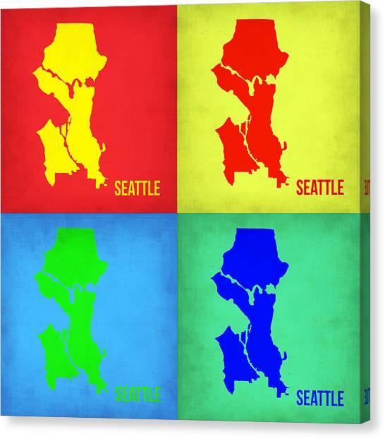 Oregon Canvas Print - Seattle Pop Art Map 1 by Naxart Studio