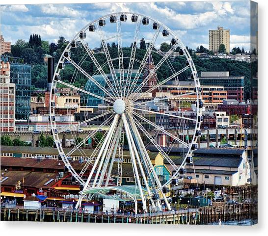 Seattle Port Ferris Wheel Canvas Print