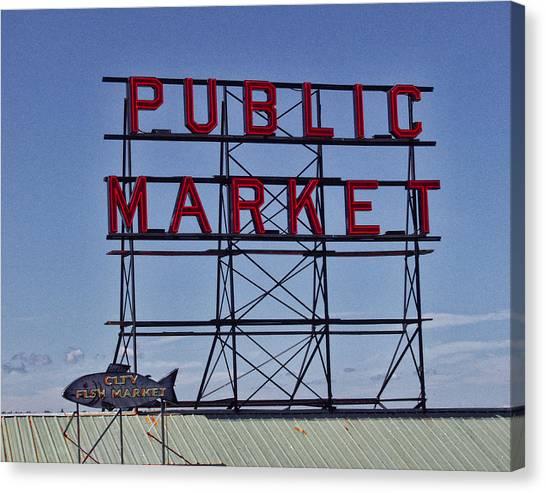 Seattle Public Market Canvas Print by Ron Roberts