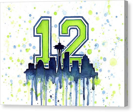 Football Canvas Print - Seattle Seahawks 12th Man Art by Olga Shvartsur