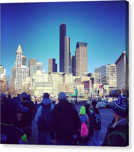 Seattle Seahawks Canvas Print - #seattle #seahawks #downtown by Marqise Allen