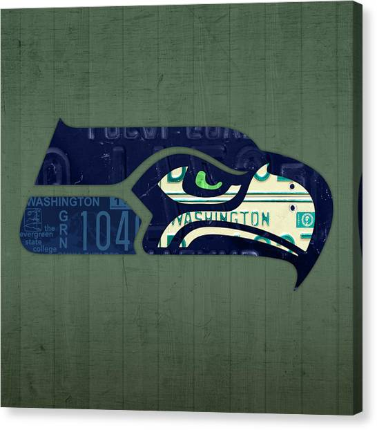Seattle Seahawks Canvas Print - Seattle Seahawks Football Team Retro Logo Washington State License Plate Art by Design Turnpike