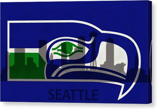 Bachelor Canvas Print - Seattle Seahawks On Seattle Skyline by Dan Sproul