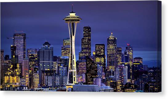 Space Needle Canvas Print - Seattle Skies by Ryan Smith