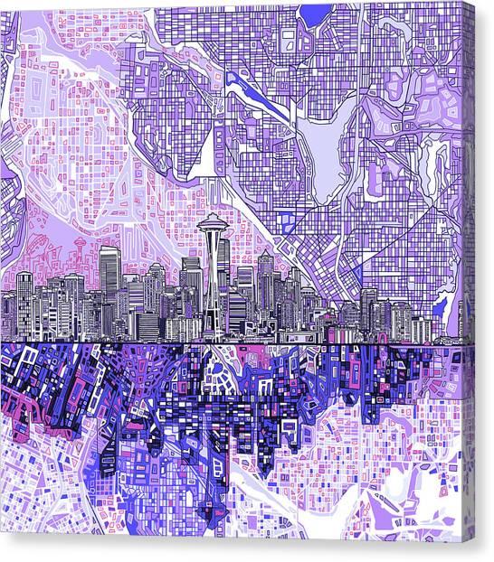 Seattle Skyline Canvas Print - Seattle Skyline Abstract 3 by Bekim Art