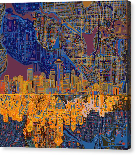 Seattle Skyline Canvas Print - Seattle Skyline Abstract 4 by Bekim Art