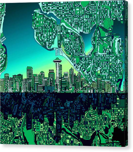 Seattle Skyline Canvas Print - Seattle Skyline Abstract by Bekim Art